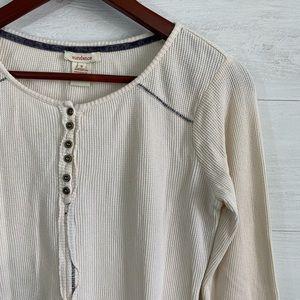 Sundance Tops - Sundance Waffle Knit Embroidered Bead Cuff Henley